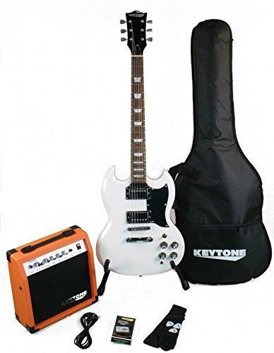 KEYTONE SG de Style Guitarra eléctrica Set White con amplificador 20Watt & Accesorios