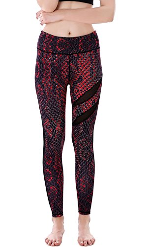 Yoga Leggings for Women Printed High Waist Stretch Fitness Leggings Snakeskin Pattern Breathable Jeggings Red L