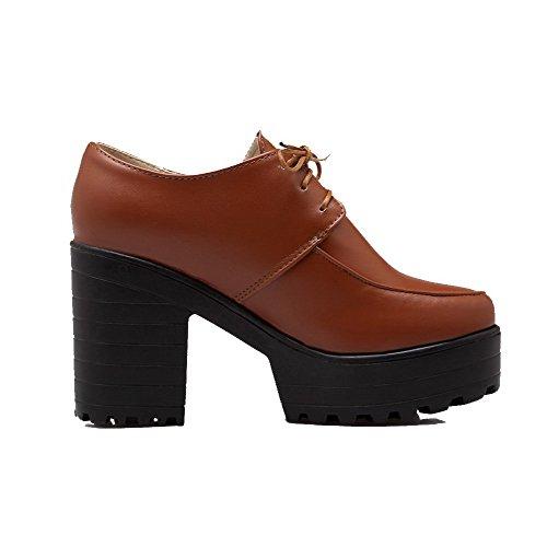 Donne Chiusa Punta Pompe shoes Tacchi Delle Rotonda Up Alti Solidi Allhqfashion Giallo Lace SWH6qw