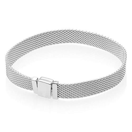 Rose Gold Silver Shine Woven Mesh Reflexions Multi Snake Bracelet Bangle 925 Sterling Silver Bead Diy Jewelry 2 -