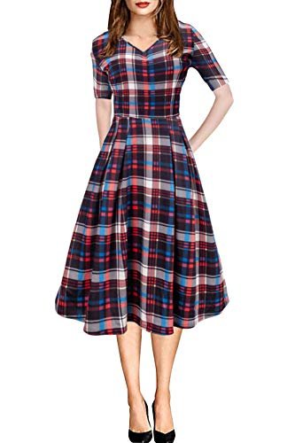 Womens V Neck Midi Vintage Style Short Sleeve Casual Work Holiday Dress with Pocket Plaid XL ()