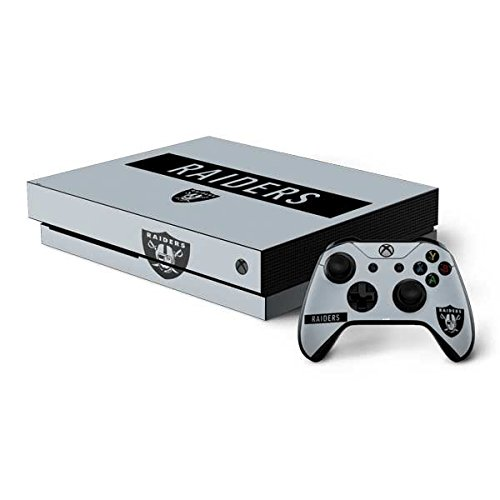 Skinit NFL Oakland Raiders Xbox One X Bundle Skin - Oakland Raiders Silver Performance Series Design - Ultra Thin, Lightweight Vinyl Decal Protection