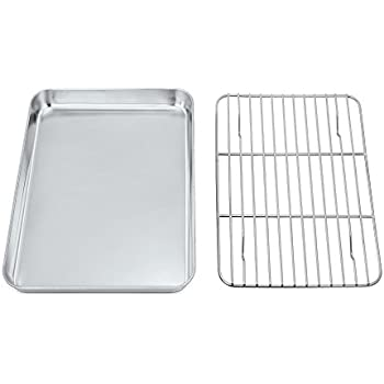 Toaster Oven Tray and Rack Set,P&P CHEF Stainless Steel Broiler Baking Pan with Cooling Rack, Rectangle 10.5''x8''x1'', Non Toxic & Dishwasher Safe