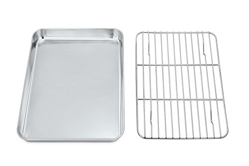 Toaster Oven Tray and Rack Set,P&P CHEF Stainless Steel Broiler Baking Pan with Cooling Rack, Rectangle 10.5''x8''x1'', Non Toxic & Dishwasher Safe ()