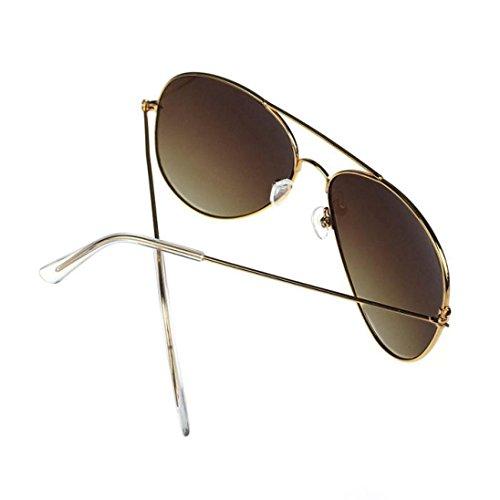 Metal marrón Aviador Gusspower Marco Espejo Gafas de Clásico Oro del Lente de Sol qEwHT