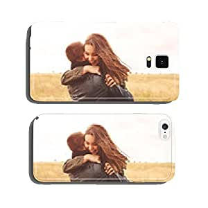 Landscape portrait of young beautiful stylish couple sensual and cell phone cover case iPhone6 Plus