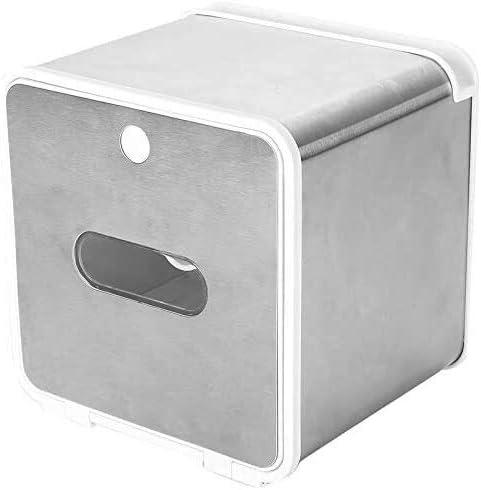 Dmqpp Wasserdicht Alle Covered Toilettenpapierhalter Box, Wand befestigter Badezimmerpapierrollenhalter, Klebe Tissue Box mit Regale Lagerung, Weiss (Color : Silver)