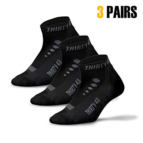 - Thirty 48 Low Cut Cycling Socks for Men and Women | Unisex Breathable Sport Socks (Large - Women 9-12 // Men 8-11, [3 Pairs] Black/Gray)