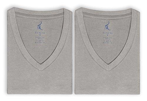 Deep Undershirt V-neck (Texere Men's V-Neck 2 Pack Undershirt (Meio, Light Gray, XL) Lightweight Top)