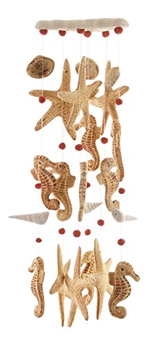Clay Motif - Clay Motif Seahorse Starfish Seashells Wind Chimes Garden Decor