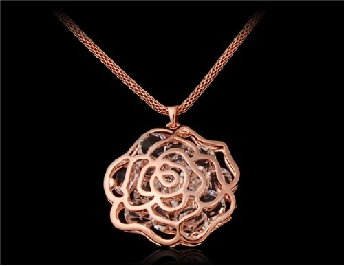 18K Plated Alloy Sweater Necklace with Plum Blossom Pendant (Champagne Gold) M.+free Mini Time Projection Key Chain (White) - Pendant Blossom Mini