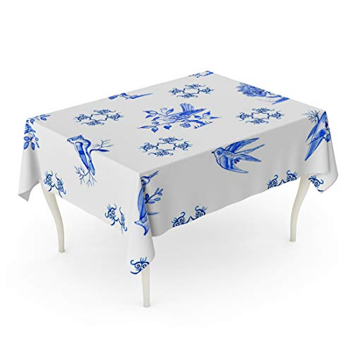 (Tarolo Rectangle Tablecloth 52 x 70 Inch Watercolor Antique Delft Blue Watercolour Traditional Dutch Tiles Images of Birds Cobalt on Authentic Table Cloth )