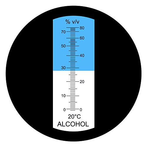 Optics Alcohol Refractometer 0-80% Volume Percent ATC, for Alcohol Liquor Production, Spirit Alcohol Measurement, Ethanol with Water, Distilled Beverages, Winemakers, with Extra LED Light & pipettes by TEKCOPLUS (Image #1)
