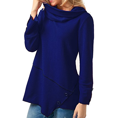 Bleu Pull Femme over Top Sweat Uni Printemps Manche shirt Casual Shirt Longue Automne semen Basique H6qxAwpw