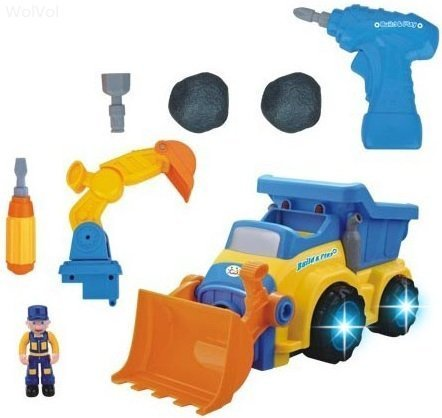 Go Dump Truck (WolVol 3-in-1 Construction Bulldozer Dump Excavator Take-A-Part Truck Toy with Drill and Tools, Lights and Music, Bump and Go)