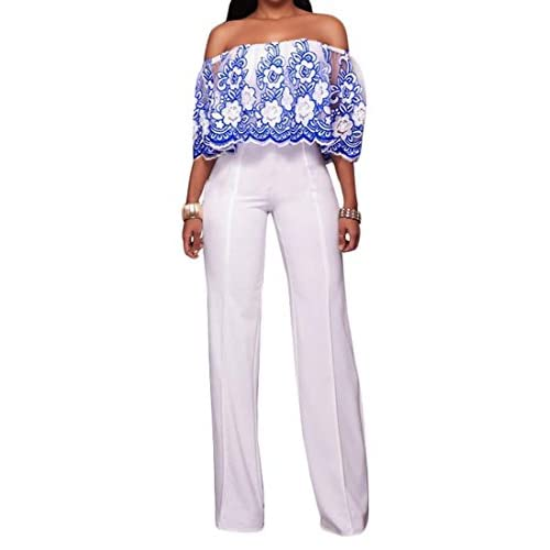 Fulok Womens Lace Embroidery Off Shoulder Straight Leg Jumpsuits