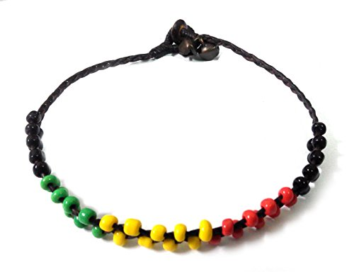 Beads Anklet Rasta Black Raggae Bells Boho Cotton Cord AK0008