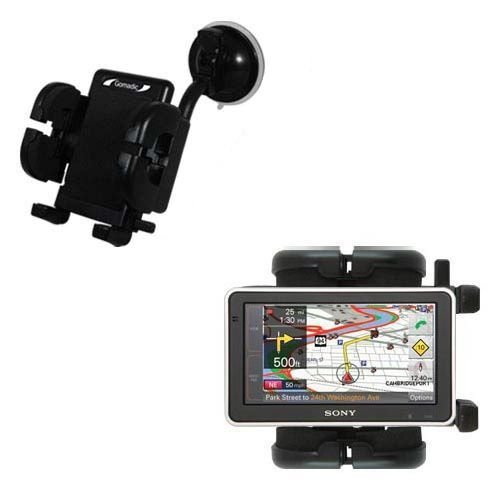 Windshield Vehicle Mount Cradle suitable for the Sony Nav-U NV-U83T - Flexible Gooseneck Holder with Suction Cup for Car / Auto.