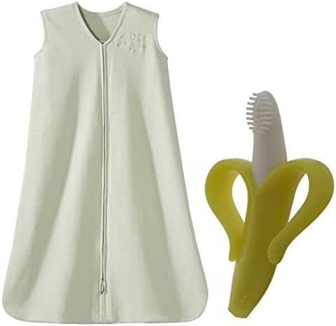 HALO SleepSack Cotton Wearable Blanket with Banana Brush, Large, Sage