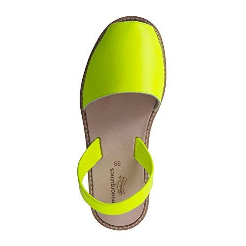 Avarca Minorquines-Sandalias de piel para mujer, color Amarillo fluorescente Amarillo - jaune fluo