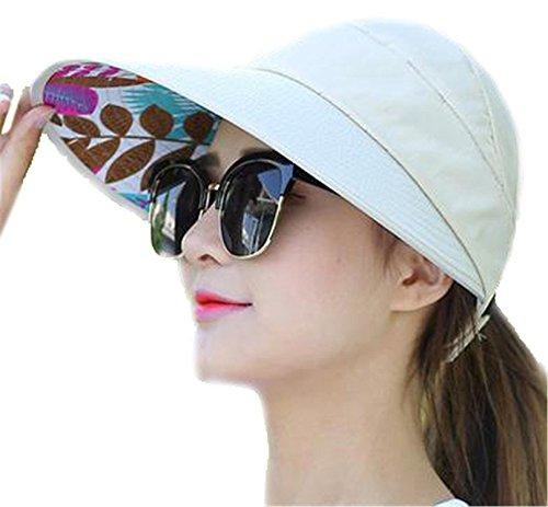 Rising ON Women Folding Foldable UV Protection Sun Hat Visor Sunscreen Floppy Cap Femme Outdoor Beach Hat (Columbia Womens Visor)