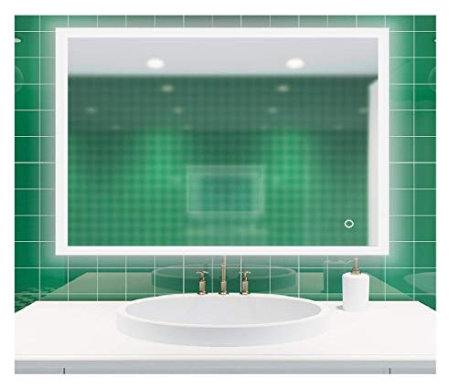 ROGSFN 36'x28' LED Hard Wire Rectangle Frosted Edge Modern Backlit Anti-Fog Bathroom -