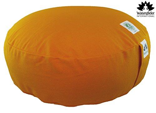 Zafu Organic Cotton Meditation Pillow: Rondo Style with Liner- 6 Colors (Orange Saffron, large 18 inch)
