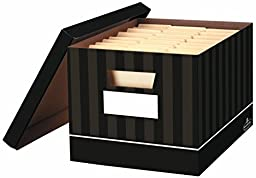 Bankers Box Decorative File Box / Record Boxes Chocolate Pin Stripe