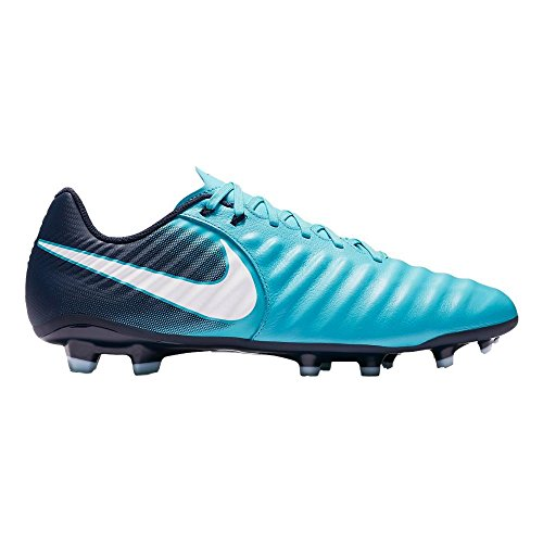 NIKE Men's Tiempo Ligera IV Leather FG Soccer Cleat (SZ. 9.5) Gamma Blue, Glacier Blue