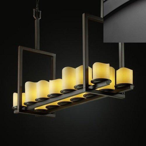 - Justice Design Group CNDL-8764-14-CREM-MBLK Candlearia Collection Dakota 14-Light Bridge Chandelier, Tall