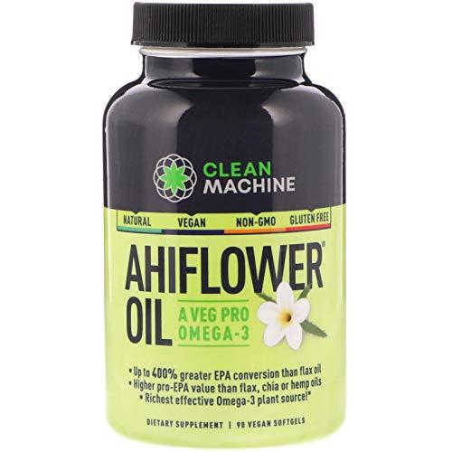 Clean Machine Ahiflower Oil, Vegan Plant Based Omega-3, Natural Ahi Flower, Non-GMO Gluten-Free - 90 Capsules (Clean Machine)