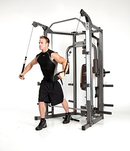 Marcy smith cage machine with workout bench and weight bar home