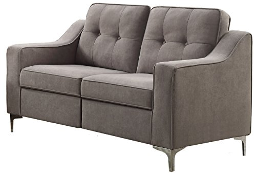 Homelegance Murana Mid-Century Fabric Loveseat, Gray