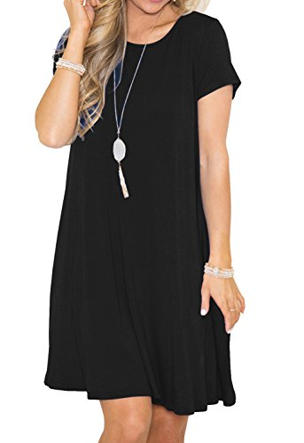 GRECERELLE Women's Summer Short Sleeve Casual Tunics Plain Flowy Swing T-Shirt Loose Dresses