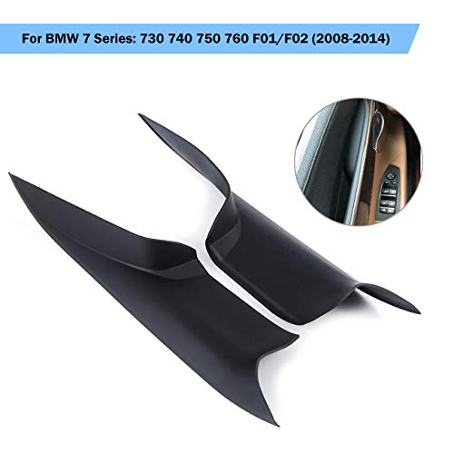 Partol Left Front &Right Front Door Handle Carrier Trim Cover Kit For BMW 7 Series 730 740 750 760 F01/F02 2008-2014, Passenger & Drive Side Inside Interior Inner Door Pull Handle Covers