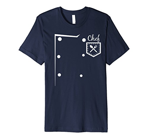Mens CHEF Easy DIY Halloween Costume T-Shirt - Cook Costume Small Navy