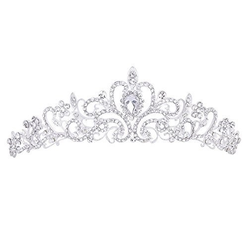 TinkSky Wedding Tiara Rhinestones Crystal Bridal Headband Pageant Princess (Princess Crowns)
