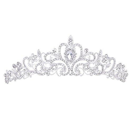TinkSky Wedding Tiara Rhinestones Crystal Bridal Headband Pageant Princess Crown