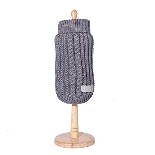 Ocamo Warm Dog Clothes Turtleneck Dog Sweater Knit Sweater Pet Puppy Knitwear Fall Winter Gray S for $<!--$9.45-->
