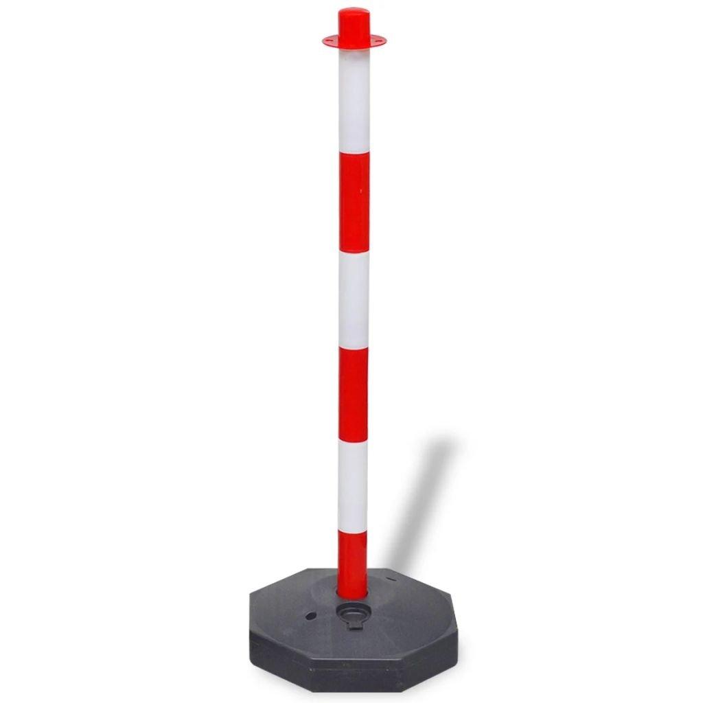 Nishore Set de Postes de Delimitaci/ón con Cadena de Pl/ástico de PE de 10m R/ápido y F/ácil de Instalar y Guardar Rojo y Blanco