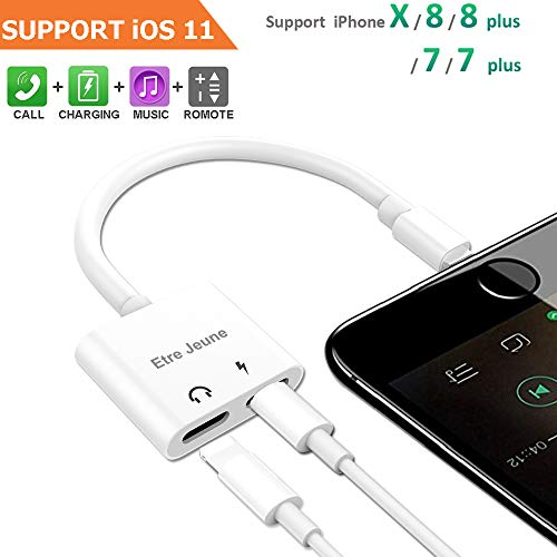 Etre Jeune Adapter Splitter Compatible for IP X, Dual Headphone Audio & Charge Adapter,Headphone Jack Audio & Charge Cable at The Same time for IP 8/8Plus 7/7Plus