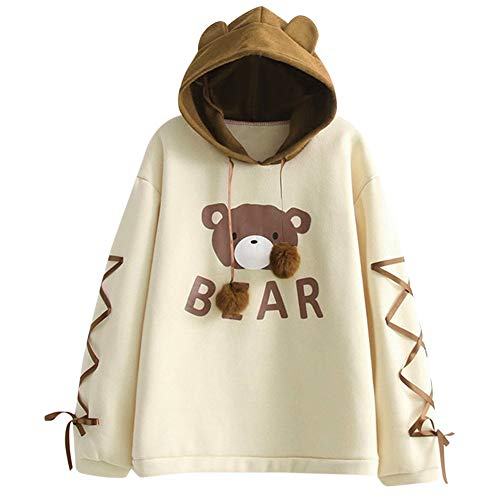 Leyben Women's Tops, Women Wear A Bear Printing Cap Top Long Sleeve with A Ribbon Hair Ball Hoodie Cute Sweater(S,Yellow) (Flannel Shirt Abercrombie Women)