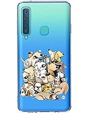 Oihxse Case Transparente Suave TPU Compatible con Samsung Galaxy A9 2108/A9 Stra Pro Funda [Lindo Caricatura Flor Serie Dibujos] Cristal Protector Carcasa Anti Rasguños Bumper Cover-Perro