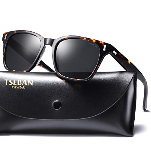 T.SEBAN Vintage Polarized Sunglasses for Men Retro Style Acetate Frame UV400 Protection ()
