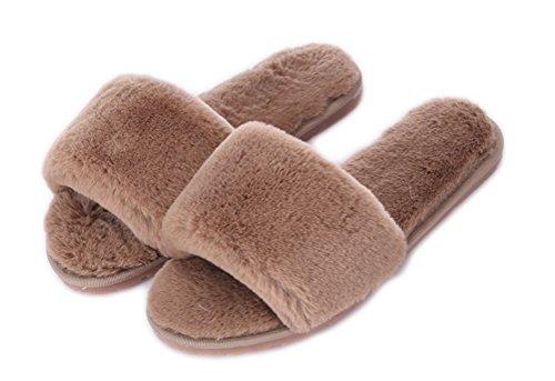 Outdoor Sur Plat Slipper Beginning Mode Peluche Indoor Chaussures Auspicious De Toison D'hiver Femme Slip En pieds Café zYd6q