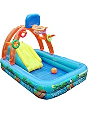 Inflatable Water Sliding Pool with Basketball Hoop, Children's Portable Multifunctional Inflatable Water Slide Swimming Pool for ackyard Indoor/Outdoor Use