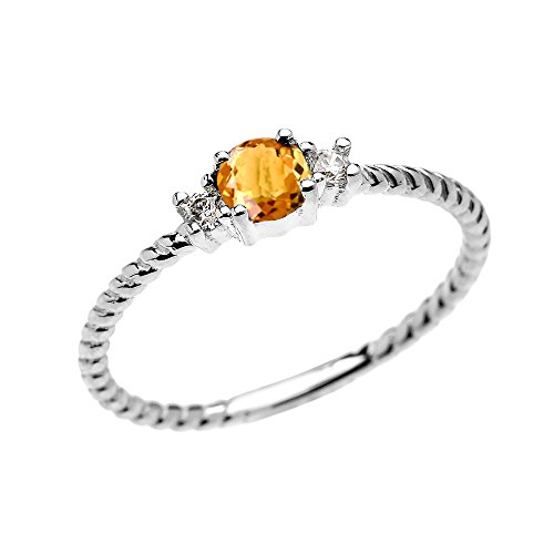 14k White Gold Dainty Solitaire Citrine and White Topaz Rope Design Stackable/Proposal Ring(Size 7)