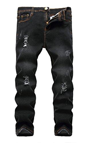 (Boy's Black Skinny Ripped Destroyed Distressed Stretch Slim Fit Denim Jeans Pants , Black , 16)