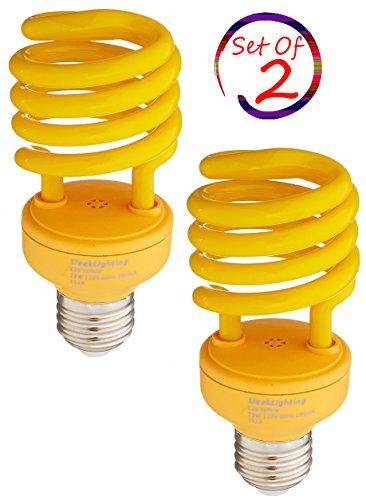 SleekLighting 23 Watt T2 YELLOW Bug Light Spiral CFL Light Bulb, 120V, E26 Medium Base-Energy Saver (Pack of (13w Yellow Bug)