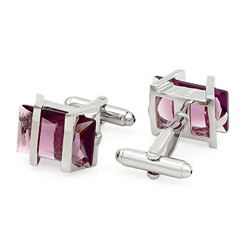 Crystal Cubic Zirconia Cufflinks - Kemstone Lilac Cubic Zirconia Crystal Cufflinks Silver Tone Jewelry for Men